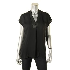 VINCE Black Silk Tunic with Leather Trim